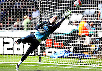Joe Hart of Manchester City warms up during the Barclays Premier League match between Swansea City and Manchester City played at The Liberty Stadium, Swansea on 15th May 2016