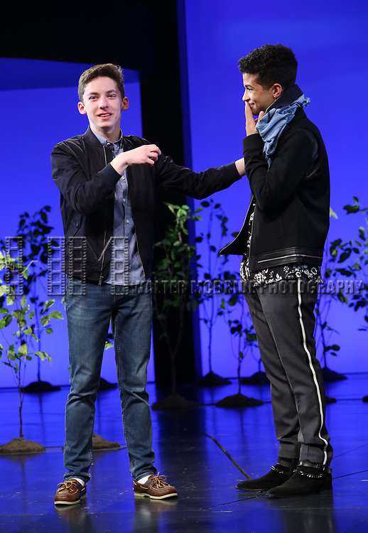 """Andrew Barth Feldman takes his final """"Dear Evan Hansen"""" bows and """"Passes the Polo"""" to Jordan Fisher at the Music Box Theatre on January 26, 2020 in New York City."""