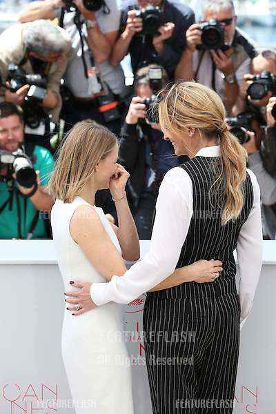Jodie Foster and Julia Roberts attend the 'Money Monster' photocall during the 69th annual Cannes Film Festival at the Palais des Festivals on May 12, 2016 in Cannes<br /> Picture: Kristina Afanasyeva / Featureflash