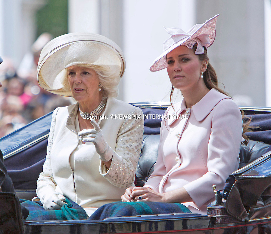 KATE EXPECTING 2ND CHILD<br /> Kensington Palace has confirmined that the Duke and Duchess of Cambridge are expecting their second child.<br /> <br /> KATE AND CAMILLA RIDE IN CARRIAGE<br /> to the Trooping of the Colour Parade at Horse Guards.<br /> The Duchess of Cambridge is 8 months into her pregnancy.<br /> The event marks the Queen's Official Birthday, The Mall, London_15th June 2013<br /> Photo Credit: &copy;Reynolds/NEWSPIX INTERNATIONAL<br /> <br /> **ALL FEES PAYABLE TO: &quot;NEWSPIX INTERNATIONAL&quot;**<br /> <br /> PHOTO CREDIT MANDATORY!!: NEWSPIX INTERNATIONAL<br /> <br /> IMMEDIATE CONFIRMATION OF USAGE REQUIRED:<br /> Newspix International, 31 Chinnery Hill, Bishop's Stortford, ENGLAND CM23 3PS<br /> Tel:+441279 324672  ; Fax: +441279656877<br /> Mobile:  0777568 1153<br /> e-mail: info@newspixinternational.co.uk