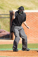 Home plate umpire Drew Mahar makes a strike call during the game between the Bowling Green Falcons and the High Point Panthers at Willard Stadium on March 9, 2014 in High Point, North Carolina.  The Falcons defeated the Panthers 7-4.  (Brian Westerholt/Four Seam Images)