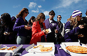 Northwestern freshmen line up for Giordano's pizza in Wildcat Alley before the game between South Dakota and Northwestern.