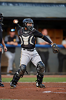 Bristol Pirates catcher Gabriel Brito (52) throws back to the pitcher during the second game of a doubleheader against the Bluefield Blue Jays on July 25, 2018 at Bowen Field in Bluefield, Virginia.  Bristol defeated Bluefield 5-2.  (Mike Janes/Four Seam Images)