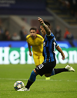 Football Soccer: UEFA Champions League -Group Stage- Group F Internazionale Milano vs Borussia Dortmund, Giuseppe Meazza stadium, October 23, 2019.<br /> Inter's Lautaro Martinez shoots to miss a penalty during the Uefa Champions League football match between Internazionale Milano and Borussia Dortmund at Giuseppe Meazza (San Siro) stadium, on October 23, 2019.<br /> UPDATE IMAGES PRESS/Isabella Bonotto