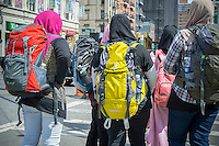 Islamic women tourists with their backpacks in New York on Saturday, August 29, 2015. (© Richard B. Levine)