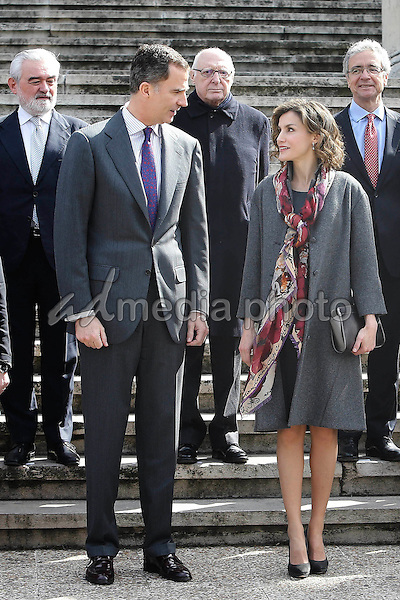04 March 2016 - Madrid, Spain - Queen Letizia and King Felipe during the opening of the Miguel de Cervantes, the myth of life (1616-2016) exhibtion at the national library in Madrid. Photo Credit: PPE/face to face/AdMedia