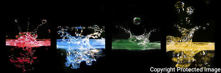 panel of four colored water drops.