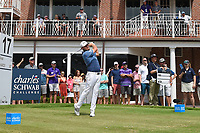 Tyrrell Hatton (ENG) watches his tee shot on 17 during round 4 of the 2019 Charles Schwab Challenge, Colonial Country Club, Ft. Worth, Texas,  USA. 5/26/2019.<br /> Picture: Golffile | Ken Murray<br /> <br /> All photo usage must carry mandatory copyright credit (© Golffile | Ken Murray)