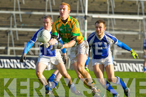 Mayrice Corridan Finuge in action against David Maher and Leonard Havens Monasterevan in the All Ireland Intermediate Club Championship Semi Final at the Gaelic Grounds in Limerick on Sunday.