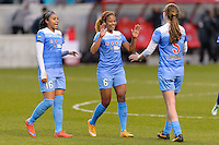 Bridgeview, IL, USA - Sunday, May 1, 2016:  Chicago Red Stars defenders Samantha Johnson (16), Casey Short (6), and Katie Naughton (5) celebrate after a regular season National Women's Soccer League match between the Chicago Red Stars and the Orlando Pride at Toyota Park. Chicago won 1-0.
