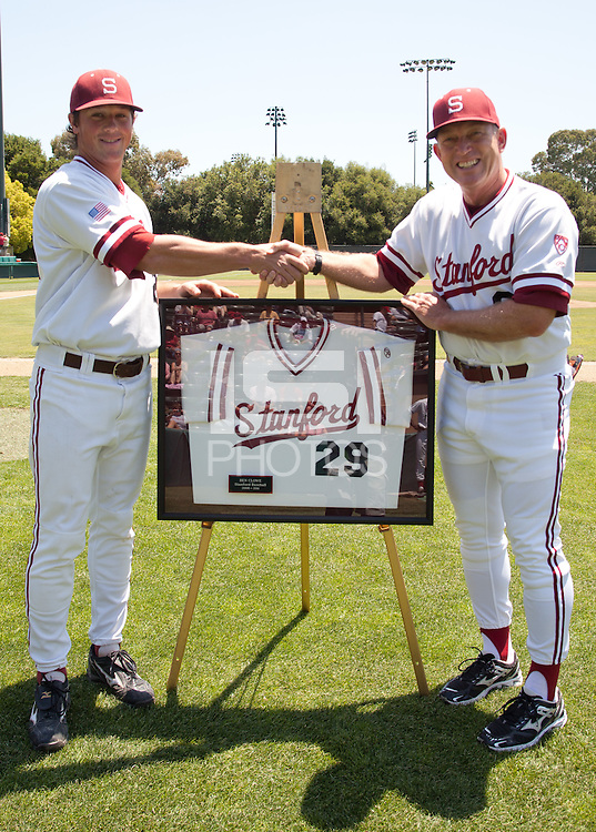 STANFORD, CA - May 21, 2011: Ben Clowe of Stanford baseball with head coach Mark Marquess during the Senior Day recognition before Stanford's game against Arizona at Sunken Diamond. Stanford lost to Arizona, 7-3.