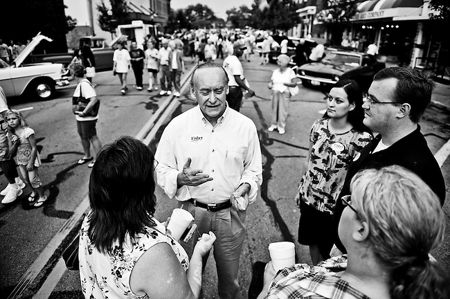 Ohio Democratic candidate for U.S. Senate Lt. Gov. Lee Fisher talks to supporters during a campaign stop at the 11th Annual Hot Summer Cruise-In event in Bellefontaine, Ohio, on Aug. 14, 2010.