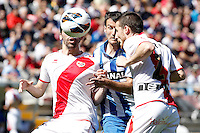 Rayo Vallecano's Tito (r) and Alejandro Galvez (l) and Real Sociedad's Imanol Agirretxe during La Liga match.April 14,2013. (ALTERPHOTOS/Acero)