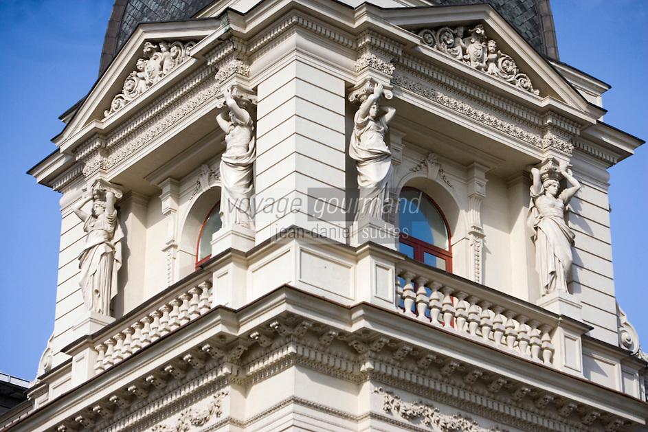 Europe/Pologne/Lodz: Détail des façades baroques de la rue Piotrkowska plus longue rue pietonne de Pologne