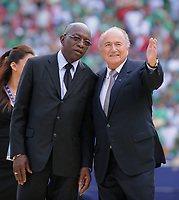 FIFA Vice president and CONCACAF President Jack A. Warner (Trinidad and Tobago) with FIFA President Joseph S. Blatter (SUI). On April 6th 2020, in addition to Ricardo Teixeira, the former president of the Brazilian Football Confederation and the now-deceased ex-COMNEBOL president Nicolas Leoz and a co-conspirator, two former Fox employees have been indicted as part of the investigation into corruption by US official, which claims that Russia and Qatar offered and paid bribes to secure votes in the process that saw them awarded the 2018 and 2022 World Cups,  an indictment in the United States alleges. The document, was brought by federal prosecutors in New York as part of the long-running investigation into corruption surrounding football's governing body