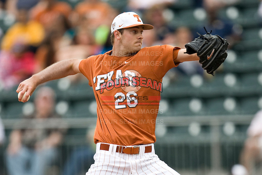 Texas starting pitcher Taylor Jungmann delivers against Stanford on March 4th, 2011 at UFCU Disch-Falk Field in Austin, Texas.  (Photo by Andrew Woolley / Four Seam Images)
