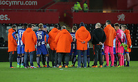 Pictured: Hertha Berlin players and staff after the fianl whistle Tuesday 28 February 2017<br /> Re: Premier League International Cup, Swansea City U23 v Hertha Berlin II at at the Liberty Stadium, Swansea, UK