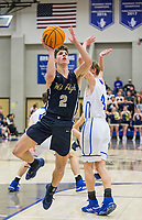 Dillon Bailey, Bentonville West point guard, shoots vs Rogers Tuesday, Jan. 14, 2020, at King Arena in Rogers.<br /> Go to http://bit.ly/2FVKUXz to see more photos.<br /> (NWA Democrat-Gazette/Ben Goff)