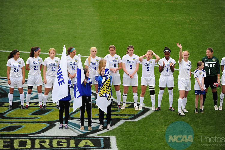 04 DEC 2011:  Duke University takes on Stanford University during the Division I Women's Soccer Championship held at KSU Soccer Stadium on the Kennesaw State University campus in Kennesaw, GA.  Stanford beat Duke 1-0 to win the national title.  Joshua Duplechian/NCAA Photos