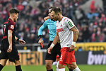 30.11.2019, Rheinenergiestadion, Köln, GER, DFL, 1. BL, 1. FC Koeln vs FC Augsburg, DFL regulations prohibit any use of photographs as image sequences and/or quasi-video<br /> <br /> im Bild Rot / rot Karte Rafael Czichos (#5, 1.FC Köln / Koeln) von Tobias Stieler (SR) (Schiedsrichter, referee), <br /> <br /> Foto © nordphoto/Mauelshagen