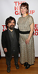 "Peter Dinklage and Erica Schmidt , pregnant, attend the Opening Night of The New Group World Premiere of ""All The Fine Boys"" at the The Green Fig Urban Eatery on March 1, 2017 in New York City."