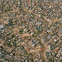 An aerial view of townships of Cape Town, South Africa