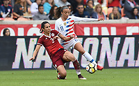 Houston, TX - Sunday April 8, 2018: Bianca Sierra, Mallory Pugh during an International friendly match versus the women's National teams of the United States (USA) and Mexico (MEX) at BBVA Compass Stadium.