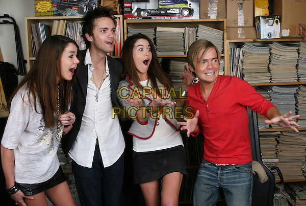 "JADE RAMSEY, THOMAS DEKKER,  NIKITA RAMSEY & ANTHONY FITZGERALD.""All About Evil"" cast exclusive photo shoot, Los Angeles, California, USA..March 28th, 2010.half length white grey gray shirt jacket top stubble facial hair sisters family twins  red trim jacket mouth open hands funny red top skirt.CAP/ADM/SM/GW.©Glenn Weiner/ Stargaze Media/AdMedia/Capital Pictures."