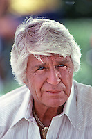 "Jim Davis as Jock Ewing on set of ""Dallas,"" TV Show, 1980."