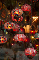 Istanbul is well known for its many shops offering unique items for sale; in this case- ornate lanterns.