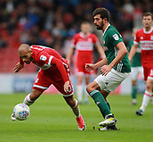 30th September 2017, Riverside Stadium, Middlesbrough, England; EFL Championship football, Middlesbrough versus Brentford; Martin Braithwaite of Middlesbrough gets away from Neal Maupay of Brentford