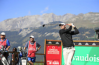 Chris Wood (ENG) tees off the 7th tee during Saturday's Round 3 of the 2018 Omega European Masters, held at the Golf Club Crans-Sur-Sierre, Crans Montana, Switzerland. 8th September 2018.<br /> Picture: Eoin Clarke | Golffile<br /> <br /> <br /> All photos usage must carry mandatory copyright credit (&copy; Golffile | Eoin Clarke)