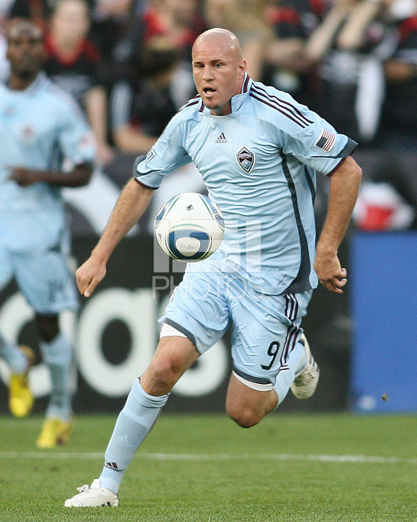 Conor Casey #9 of the Colorado Rapids moves forward during an MLS match against D.C. United on May 15 2010, at RFK Stadium in Washington D.C. Colorado won 1-0.