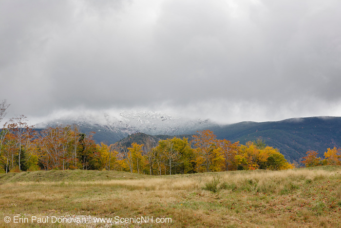 Franconia Ridge from Cannon Mountain parking in the White Mountains, New Hampshire USA during the autumn months