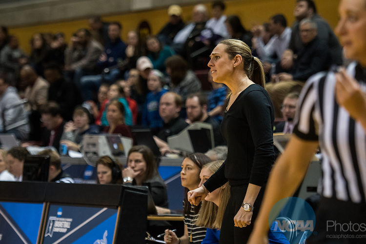 GRAND RAPIDS, MI - MARCH 18: Head coach Carla Berube of Tufts University giving tough looks toward her team during the Division III Women's Basketball Championship held at Van Noord Arena on March 18, 2017 in Grand Rapids, Michigan. Amherst College defeated Tufts University 52-29 for the national title. (Photo by Brady Kenniston/NCAA Photos via Getty Images)