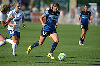 Kansas City, MO - Sunday August 28, 2016: Kathryn Schoepfer, Brittany Taylor during a regular season National Women's Soccer League (NWSL) match between FC Kansas City and the Boston Breakers at Swope Soccer Village.