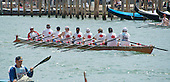 "Rowers from the Dragon Boat team from the Berliner Ruder-Club of Berlin, Germany participate in the 42nd Vogalonga regatta on the Grand Canal near the the Basilica della Salute in Venice, Italy on Sunday, May 15, 2016.  The Vogalonga, a non-competitive recreational sporting event for amateur athletes, is part of the annual ""Venice International Dragon Boat Festival.""  The Grand Canal is closed to motor-driven boats during the event.<br /> Credit: Ron Sachs / CNP"