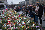 A carpet of floral tributes lying outside the French embassy in Berlin. The flowers, candles and other tributes were laid by people in remembrance of those killed in the terrorist attacks on Paris by Islamic State militants. The attacks on Friday 13th November took place across six different sites in the French capital and left more than 130 people dead.
