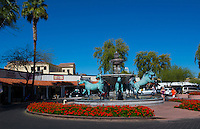 Old Scottsdale Arizona horse statue fountain tourist area 5th Avenue and Marshall Way near Phoenix