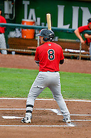 Brady Conlan (8) of the Great Falls Voyagers at bat against the Ogden Raptors in Pioneer League action at Lindquist Field on August 17, 2016 in Ogden, Utah. Ogden defeated Great Falls 5-2. (Stephen Smith/Four Seam Images)
