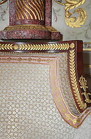 "Detail of bergere, 1806, Jacob-Desmalter, magohany, ormolu, white silk velvet, Turkish Boudoir, redesigned in 1777 for Marie Antoinette, by architect Richard Mique, Chateau de Fontainebleau, France. The decoration is the achievement of the brothers Rousseau, and the furniture dates to the period of the First Empire, with precious textile work done by Jacob-Desmalter for Empress Josephine. Including a small bedroom, mirrors, and curtains raised by pulleys, this exceptional ensemble has been restored in 2014 thanks to the support of INSEAD and the generosity of subscribers of sponsors belonging to the group ""Des Mécènes pour Fontainebleau"". Its opening to the public is scheduled for Spring 2015. Picture by Manuel Cohen"