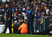17th March 2018, Craven Cottage, London, England; EFL Championship football, Fulham versus Queens Park Rangers; Queens Park Rangers manager Ian Holloway shouting instructions to his players from the touchline with Fulham Manager Slavisa Jokanovic looking on