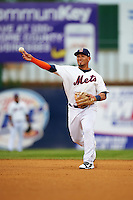 Binghamton Mets shortstop Phillip Evans (13) during a game against the Trenton Thunder on May 29, 2016 at NYSEG Stadium in Binghamton, New York.  Trenton defeated Binghamton 2-0.  (Mike Janes/Four Seam Images)