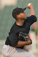 Starting pitcher Julio Polanco (14) of the Savannah Sand Gnats in action at Fieldcrest Cannon Stadium in Kannapolis, NC, Sunday July 20, 2008. (Photo by Brian Westerholt / Four Seam Images)