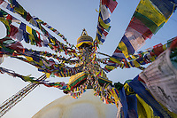 November 20, 2014 - Kathmandu (Nepal). View of the Boudhanath stupa in Kathmandu - also known as Bodnath, is the biggest stupa in Nepal and the holiest Tibetan temple outside Tibet. © Thomas Cristofoletti / Ruom