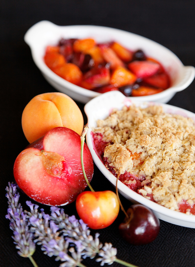 Stone fruits baked in ramekin with lavender, by pastry chef Laurie Pfalzer, Pastry Craft