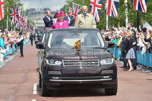 12 June 2016 - London, England - Queen, Prince Philip Prince William, Kate Duchess of Cambridge and Prince Harry. The Patrons Lunch 2016 during celebrations for the Queens 90th Birthday held at The Mall London. Photo Credit: ALPR/AdMedia