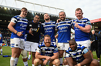 Sam Nixon, Anthony Perenise, Max Lahiff, Tom Dunn, Jacques van Rooyen, Ross Batty and Beno Obano of Bath Rugby pose for a photo after the match. Gallagher Premiership match, between Leicester Tigers and Bath Rugby on May 18, 2019 at Welford Road in Leicester, England. Photo by: Patrick Khachfe / Onside Images