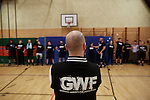 BERLIN 12.2016. GWF (German Wrestling Federation) during training. Front: Ahmad Chaer, trainer and owner of GWF School<br /> <br /> STORY: German Wrestler RAMBO MICHEL BRAUN alias EL COMANDANTE RAMBO during training at GWF Wrestling School in Berlin Neuk&ouml;lln.<br /><br />Other trainers are: Crazy Sexy mike (Hussein Chaer, man with headband) and Ahmed Chaer (man with beard) (Photo by Gregor Zielke)