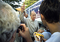 Former Green Bay Packers quarterback and coach Bart Starr tells clamoring Green Bay Packers fans that there will be an autograph session after the players presentation during a gathering of Vince Lombardi's players in downtown Green Bay for a Lombardi's Legends Reunion in September of 2001.
